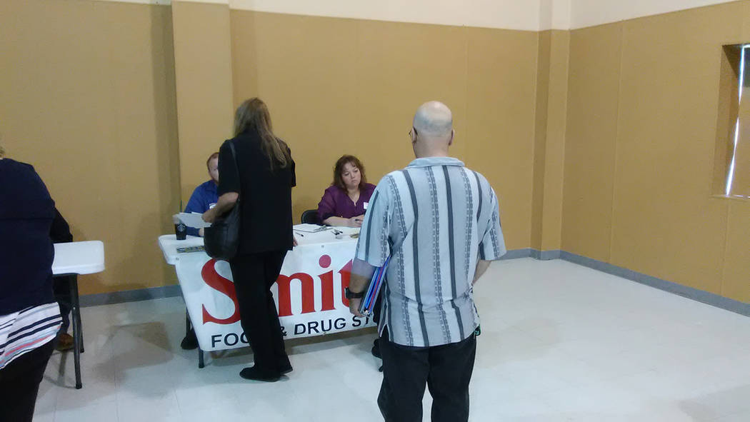 Selwyn Harris/Pahrump Valley Times  Smith's Food and Drug store was one of the many vendors on-hand for the quarterly coalition job fair earlier this month. NyE Communities Coalition officials s ...