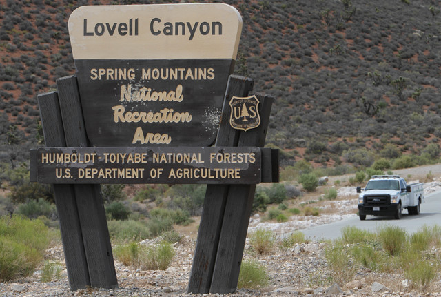 Richard Brian/Las Vegas Review-Journal The entrance sign to Lovell Canyon is seen on Monday, June 27, 2016. A closure in the area includes approximately 32,000 acres on both sides of Forest Servic ...