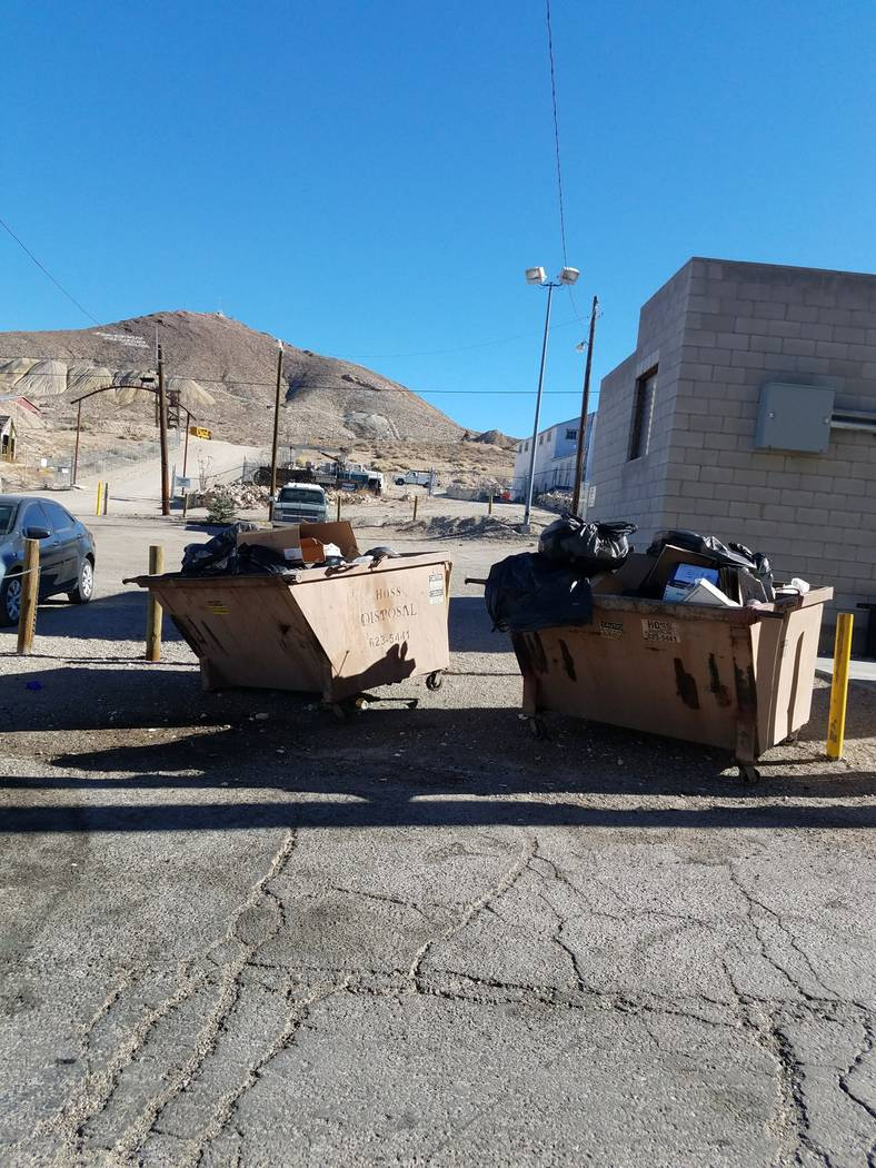 Special to the Pahrump Valley Times Dumpster are shown full of trash as shown in Tonopah. The Tonopah Town Board will discuss garbage collection services in Tonopah as part of the public workshop  ...