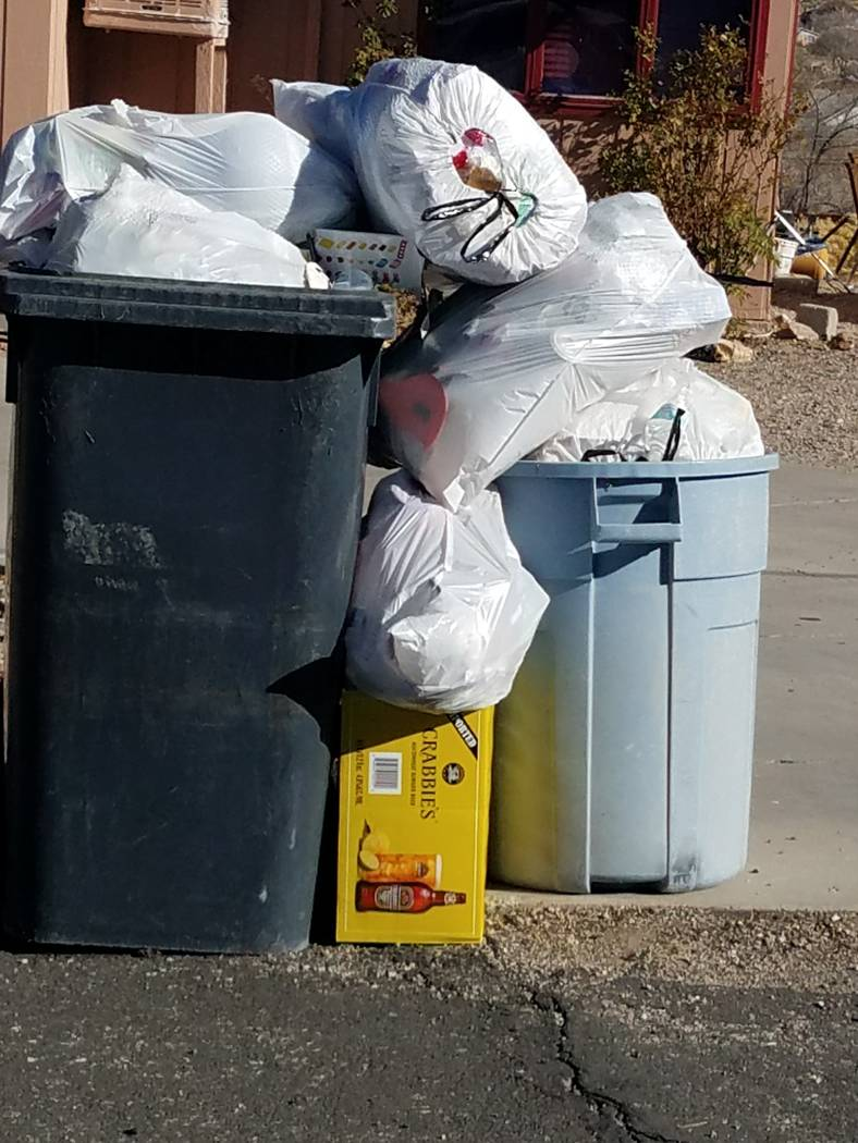 Special to the Pahrump Valley Times Garbage piles up in Tonopah as shown in a photo taken in town. The Tonopah Town Board will discuss garbage collection services in Tonopah as part of the public  ...