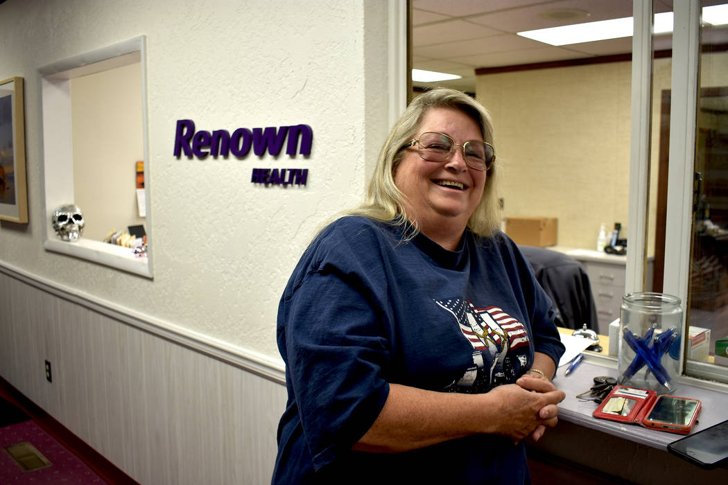 Daria Sokolova/ Pahrump Valley Times Karen Epperly of Tonopah has been using Renown for her check-ups since the entity has stepped in. She said she is able to do scans, X-rays, blood tests at Reno ...
