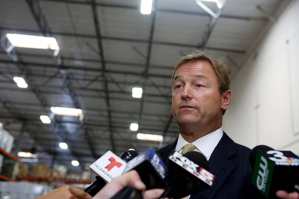 Elizabeth Brumley Las Vegas Review-Journal U.S. Dean Heller, R-Nevada, speaks to media outlets earlier this year. He is an auto racing fan and participated in racing.