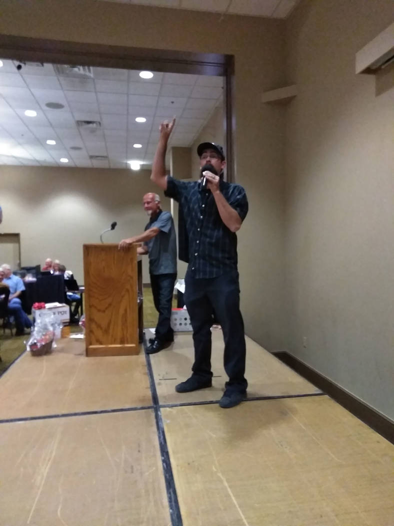 Selwyn Harris/Pahrump Valley Times Clark County Auctioneer Ron Gipson managed to persuade participants to give to an important cause during Saturday's annual Celebrity Auction at the Pahrump Nugge ...