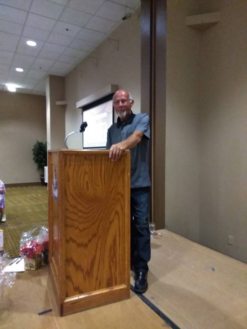 Selwyn Harris/Pahrump Valley Times  Auctioneer Ski Censki was surprised to learn that he was the final person on the auction block during Saturday's No To Abuse fundraiser. Censki netted the hig ...
