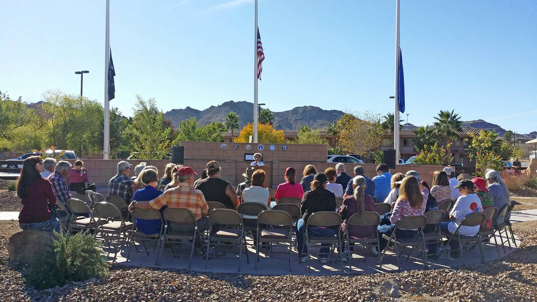 The crowd listens to remarks from Beatty Town Advisory Board member Erika Gerling at the dedication of the Robert A. and Florence Revert Park in Beatty.  Carrie Radomski / Special to the Pahrump V ...