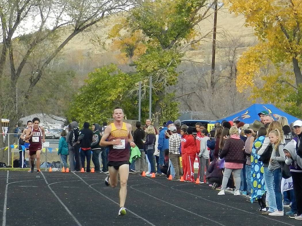 Special to the Pahrump Valley Times Bryce Odegard in his last finish as a cross-country runner for Pahrump Valley High School. He finished in third place (17 minutes, 38 seconds). He was the regio ...