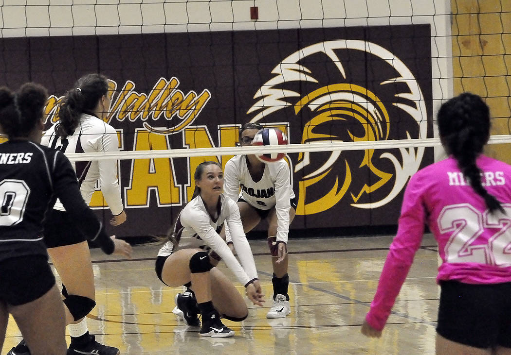 Horace Langford Jr./Pahrump Valley Times Junior setter Jacquellen Stobbe digs a ball out at the Sunrise Mountain game on Tuesday. Stobbe is the team captain and the most experienced member of the  ...