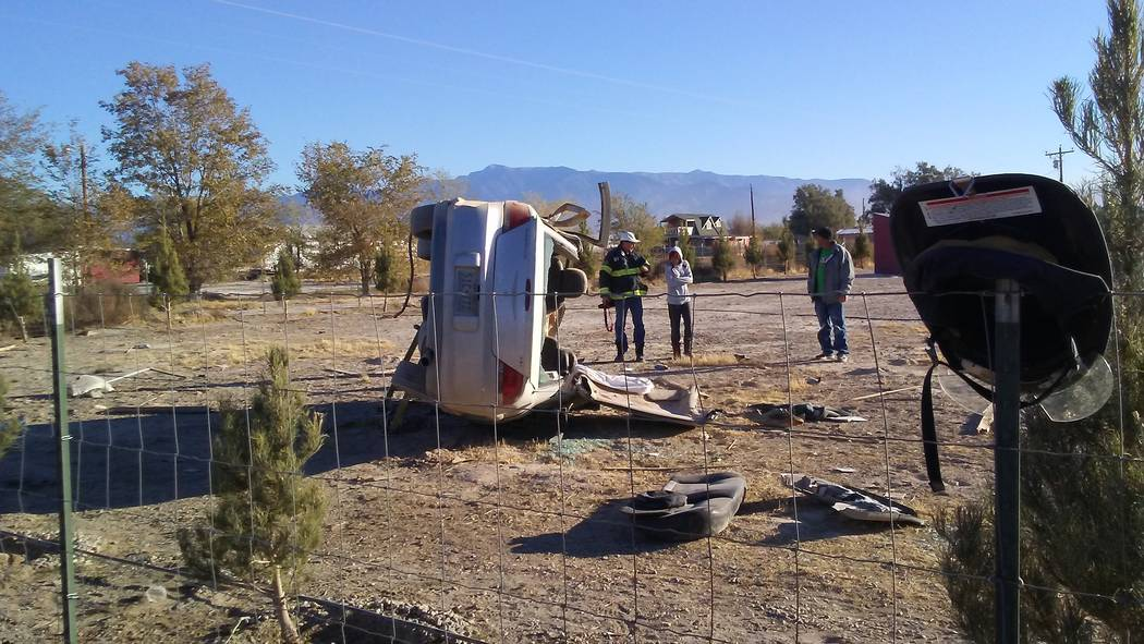 Selwyn Harris/Pahrump Valley Times One person was transported to UMC Trauma via Mercy Air following a single-vehicle rollover crash along south Homestead Road on Sunday morning. The vehicle, accor ...