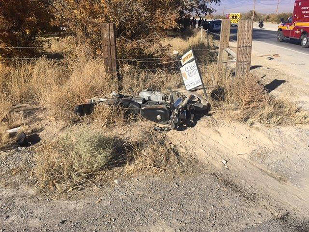Selwyn Harris/Pahrump Valley Times Two people sustained serious injuries following a motorcycle versus automobile collision early Sunday afternoon. The collision occurred at the intersection of No ...