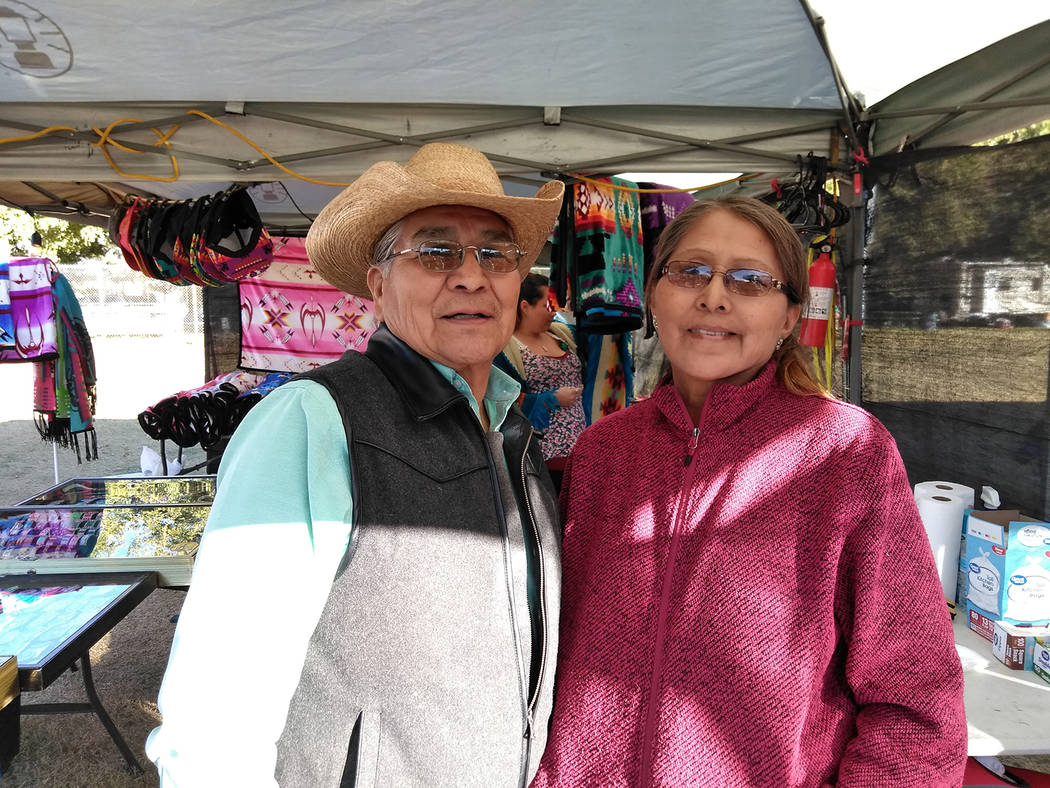 Selwyn Harris/Pahrump Valley Times   Julius Claw and wife Darlene, are the owners of Claws Indian Jewelry, located in Cajon Mesa, Utah.where they sell Native American jewelry precious stones and b ...