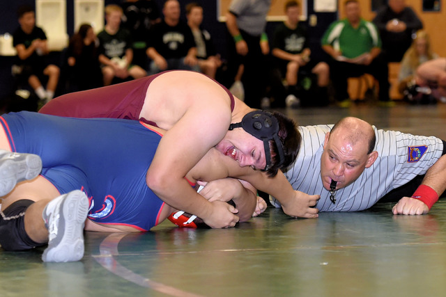 Peter Davis / Special to the Pahrump Valley Times  Christain Monje at 195 pounds went 4-0 at the Spring Valley Duals, seen above bringing the hammer down on his opponent.