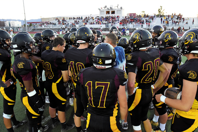 Peter Davis / Special to the Pahrump Valley Times Trojans before the Chaparral game. Pahrump is now 4-3 overall and more importantly 1-2 in the Sunset League, getting their first league win and pu ...