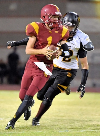 Peter Davis / Special to the Pahrump Valley Times Trojans defense hounded Del Sol's QB last season and prevented them from doing much of anything. Expect the same this year.