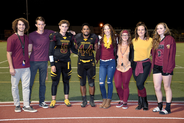 Peter Davis / Special to the Pahrump Valley Times Homecoming king and queen nominees from left to right: David Sidhu, Nick Harris, Parker Hart, Aaron Fuentes, Helen Vann, Makayla Batsford, Presley ...