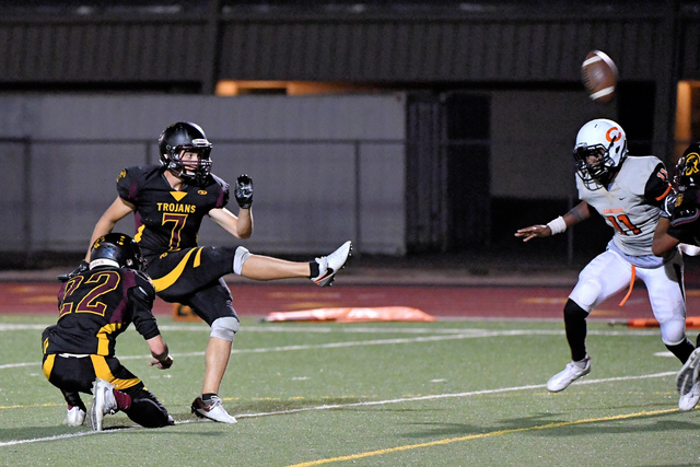 The kick is up and good for Joey Sladek during the Trojans game against Chaparral this year. Sladek's service application was also good as he was accepted into the United States Air Force Academ ...