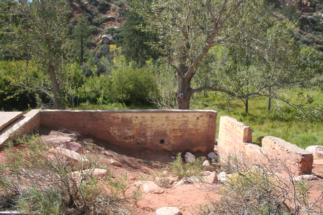 Just off the Pine Creek Canyon trail you can see a foundation of the two-story homestead house built by Horace and Glenda Wilson in 1920. Deborah Wall/Special to the Pahrump Valley Times