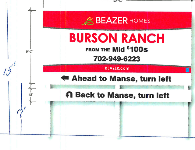 Pahrump Regional Planning Commission approved a conditional use permit for a 15-foot high off-premise advertising sign, a rendering of which is shown, for the Burson Ranch subdivision. The sign wi ...