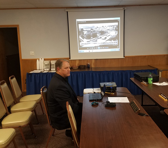 Rob Lauer of Silver Bullet Nevada rail systems, speaks to the Tonopah Town Board on Jan. 11. Lauer described the early phases of a proposed high-speed rail system between Las Vegas and Reno with s ...