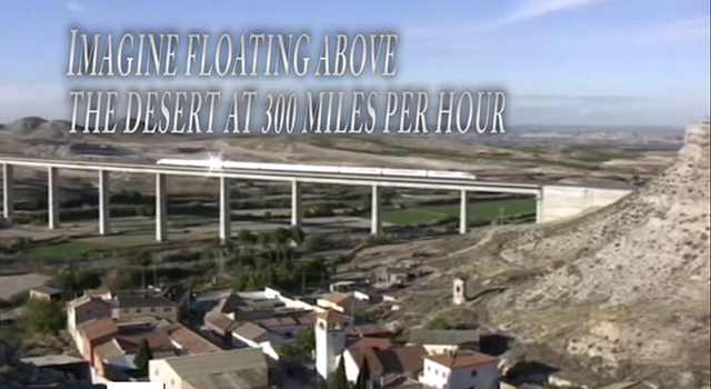 A still from a video presentation promoting an estimated $10 billion project to build the Silver Bullet Nevada rail system between Reno and Las Vegas through Nye County with stops in Tonopah and P ...