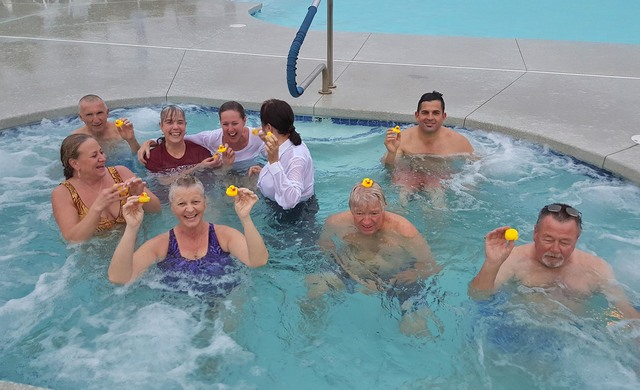 Nine gutsy bathers enjoy a warm hot tub after braving frigid conditions during the inaugural Pahrump Wine Ridge RV Resort and Cottages Polar Plunge on Friday, Jan. 20. The event raised more than $ ...