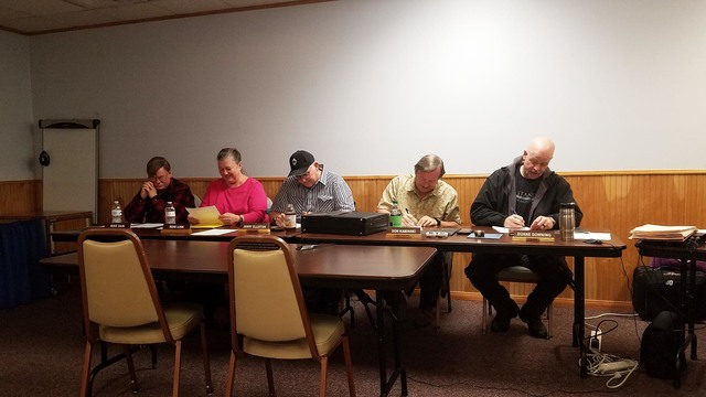 The Tonopah Town Board at Jan. 25 meeting in the convention center. The board was informed of changes that would be needed in its meetings as the result of information obtained during recent train ...