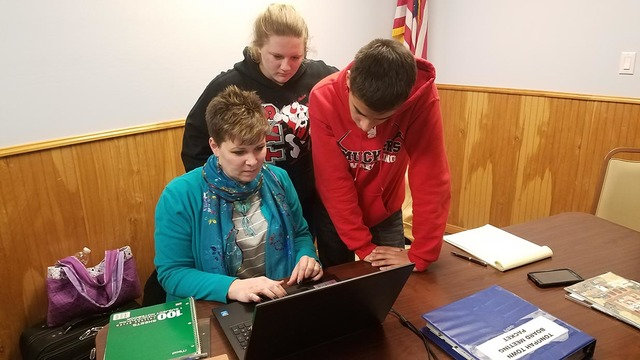 Tonopah High School students Shelby Jones, left, and Bryan Fossett are part of a group from the high school working on a brochure that is focusing on the history involving the Old Tonopah Cemetery ...