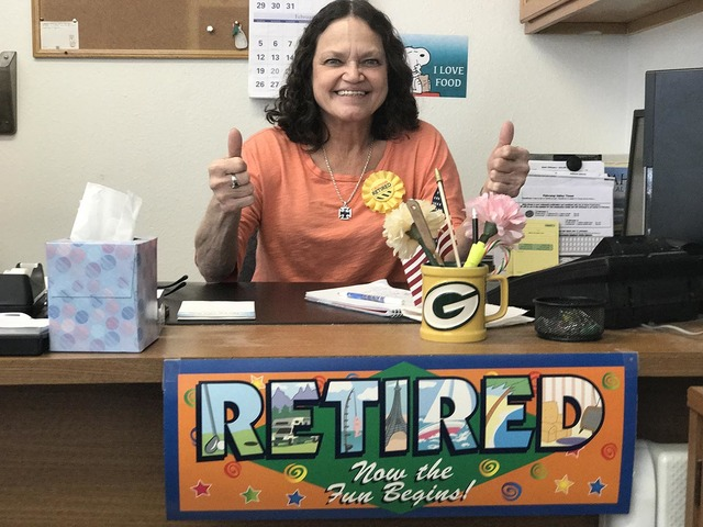 Mary Ann Yorke, who worked the front office of the Pahrump Valley Times for more than 16 years, will end her career today. Her duties included taking the obituaries and classified ads.  Selwyn Har ...