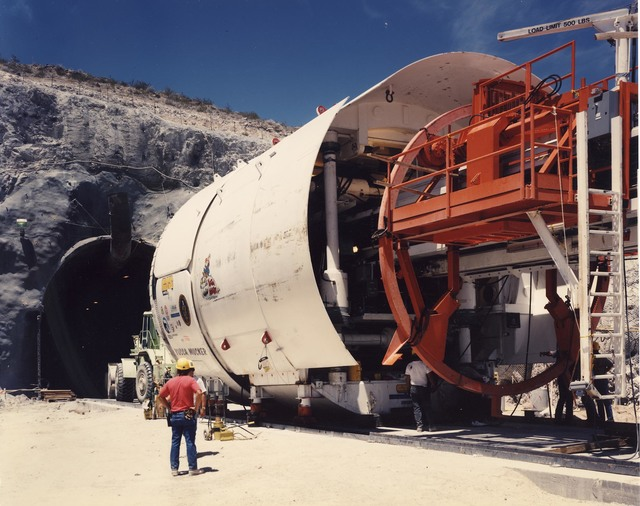 The Yucca Mucker, which bore the tunnel through Yucca Mountain for a nuclear waste repository in this undated photo.   Courtesy of the U.S. Department of Energy