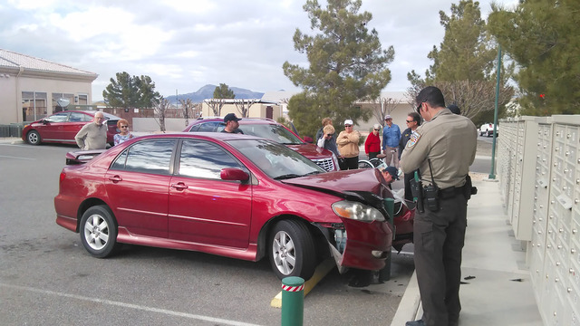 A Desert Greens resident was examined by Pahrump Valley Fire and Rescue medical crew after hitting a barrier in the retirement community Feb. 7. The unidentified driver claimed her foot became ens ...