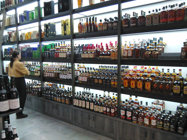 Wine and spirits are stacked to the ceiling of the newly opened Gold Town Discount Liquor inside Gold Town Casino. The casino plans to offer monthly tastings and drinks of the month to customers i ...
