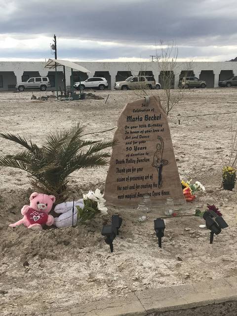A stone commemorating the life's work of dancer and artist Marta Becket stands outside the Amargosa Opera House and Hotel in Death Valley Junction.  Arnold M. Knightly/Pahrump Valley Times
