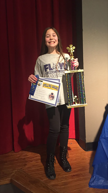 The winner of the 3rd-5th Bee competition went to Floyd Elementary fourth grader Lilly Thomassian, left, while J.G. Johnson third grader Ashley Metcalf earned the runner-up award. Special to the P ...