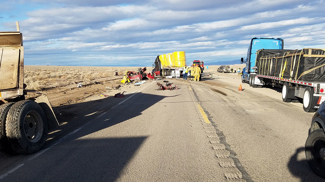 A look at the scene of the multi-vehicle fatal wreck on Feb. 8 along U.S. Highway 95/6 between Tonopah and Coaldale Junction in Esmeralda County. Two people in a pickup truck were killed. The cras ...