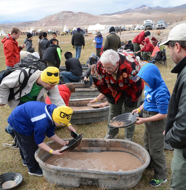 Boy Scouts pan for gold during the Mountain Man Rendezvous in Beatty last weekend. Richard Stephens/Special to the Pahrump Valley Times