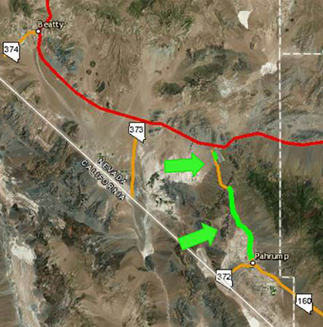 The green section highlights the portions of State Route 160 that will receive $8.7 million in improvements from NDOT starting in March.  Special to the Pahrump Valley Times