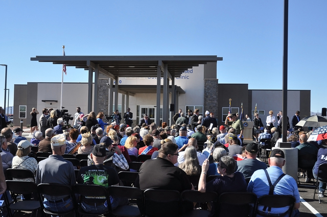 Nearly 200 veterans, residents and dignitaries gathered for the ribbon cutting of the new 15,000-square-foot, $12.1 million VA Pahrump Community Based Outpatient Clinic in November. Horace Langfor ...