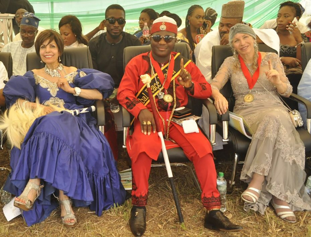 Pahrump's Pepper Jay, on right, is pictured with Queen Munni Irone and Emperor-Alafia Adeoba Amitabha Shalom on an Arts 4 Peace Awards mission in Nigeria. Jay is an American Ambassador for the A ...