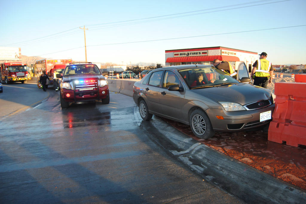 An motorist failed to negotiate the incomplete roundabout project along Pahrump Valley Boulevard and Highway 372 on Tuesday, Feb. 28. No other vehicles were involved in the crash however, the moto ...