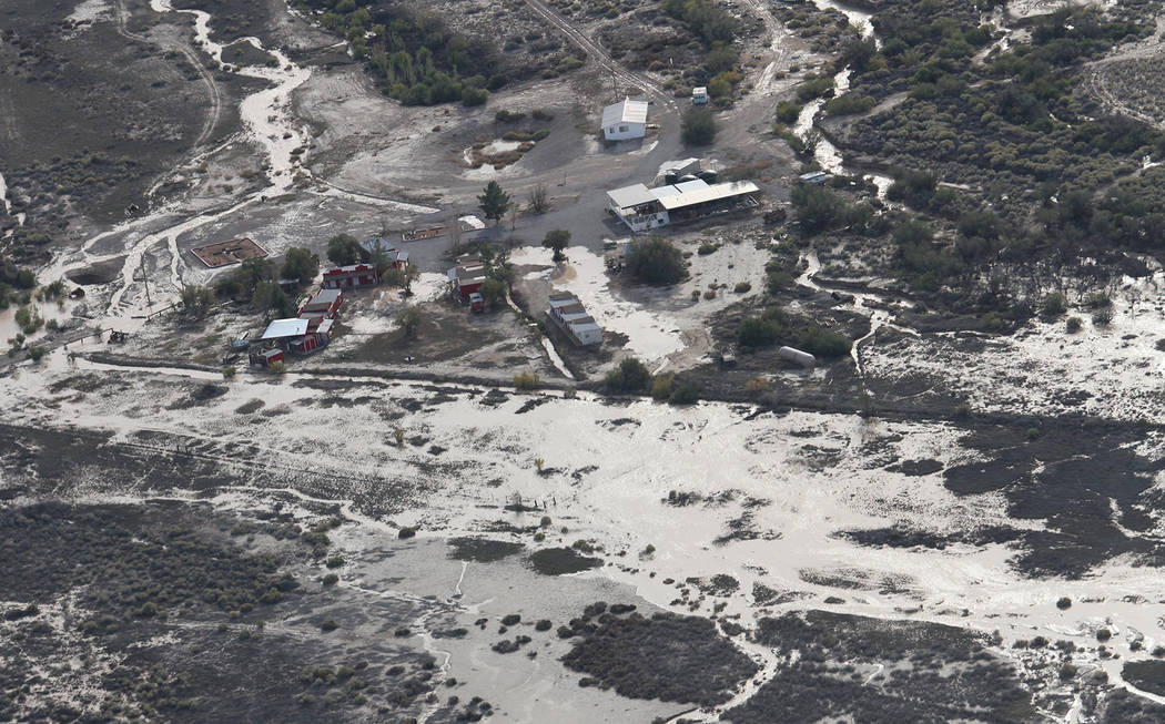 An aerial shot shows the flooded area around Ministerio Roca Solida's property in the Ash Meadows National Wildlife refuge in Amargosa Valley. The U.S. Fish and Wildlife Service recently restore ...