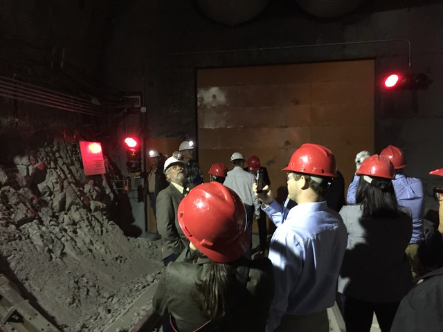 Congressional staff members, media and Department of Energy employees during a congressional tour of the Yucca Mountain exploratory tunnel on April 9, 2015.  Arnold M. Knightly/Pahrump Valley Times