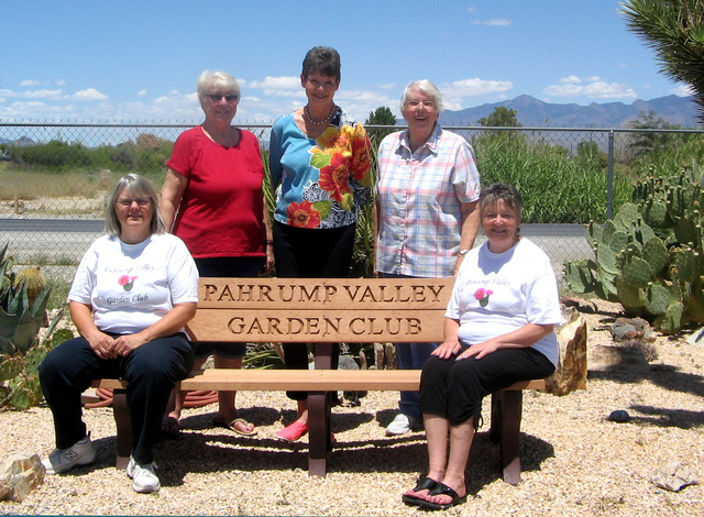 The Pahrump Valley Garden Club officers are, sitting from left, is club president Sandy Nelson and Janet Ufheil, recording secretary. In back, from left, is past president Carla Stevenson, treasur ...