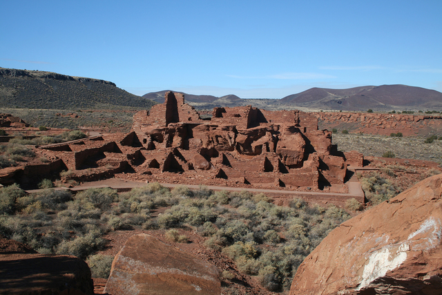 A one-half-mile paved trail brings visitors to the Wupatki Pueblo, located behind the visitor center at Wupatki National Monument in Arizona.