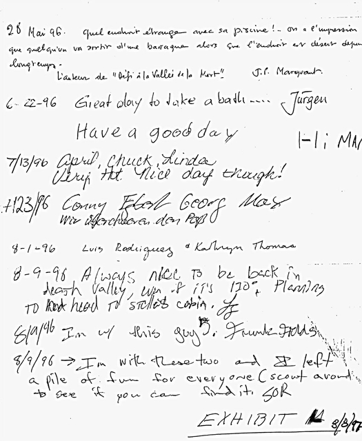 """Conny Meyer found a visitors' log near Warm Springs Pass and wrote """"Going through the pass!"""" in German, and signed all of their names. It is the fourth signing down. Courtesy of Emmett Harder"""