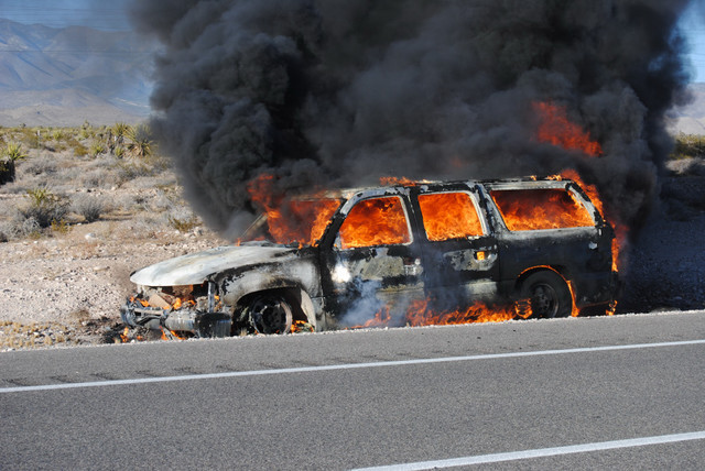 Mechanical failure is believed to be the cause of a fast-spreading vehicle fire last Wednesday, July 13, along south Highway 160. Pahrump Valley Fire and Rescue crews were dispatched to mile marke ...