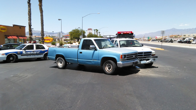 Multiple agencies responded to a two-vehicle collision along Highway 160 last Thursday. The crash, involving a town of Pahrump white Dodge work truck, sent at least one person to Desert View Hospi ...