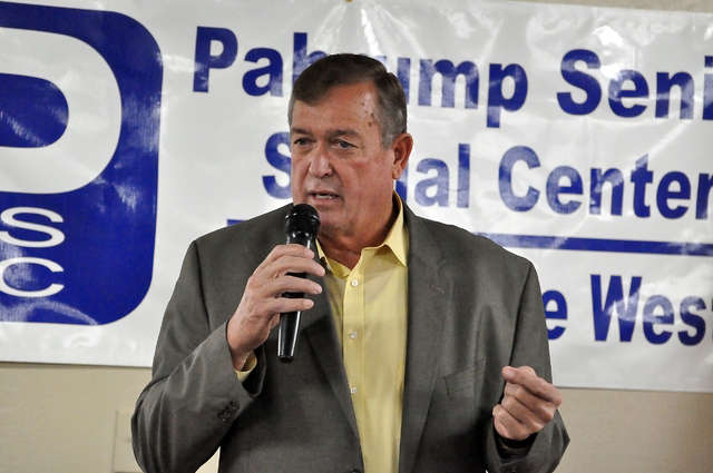 Republican incumbent Cresent Hardy, in jacket, and his Democratic challenger, Ruben Kihuen, have yet to agree on a future debate that could involve questions relating to Nye County. The two campai ...