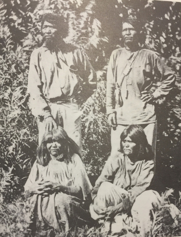Two Southern Paiute brothers and their wives in 1873. The Southern Paiute Indians possessed a culture suited to survival in the harsh Pahrump Valley climate. University of Nevada Las Vegas-Dickins ...