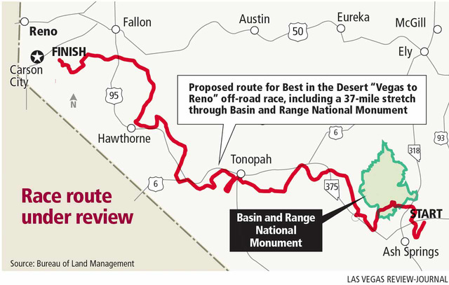 Nye County joined a bevy of other state and federal officials who asked to allow a permit for the 20th annual Best in the Desert Vegas to Reno race, which is slated to cross a portion of Basin and ...