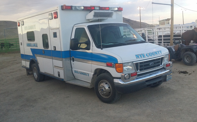 A look at a Nye County ambulance as shown in a July photo taken at the Tonopah Rodeo Grounds. The ambulance service is described in danger of collapse without support due to declining numbers of v ...
