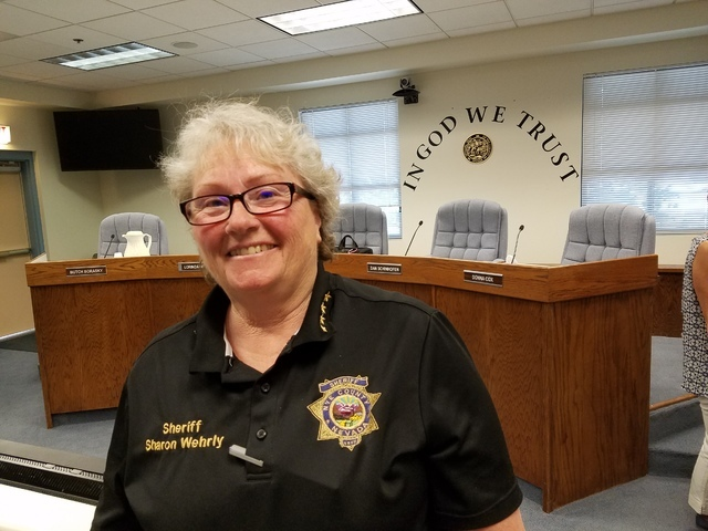 Nye County Sheriff Sharon Wehrly as shown in Aug. 2 photo in Tonopah. Wehrly in an interview discussed efforts by her office in the wake of violence elsewhere in the USA, her thoughts on gun-contr ...